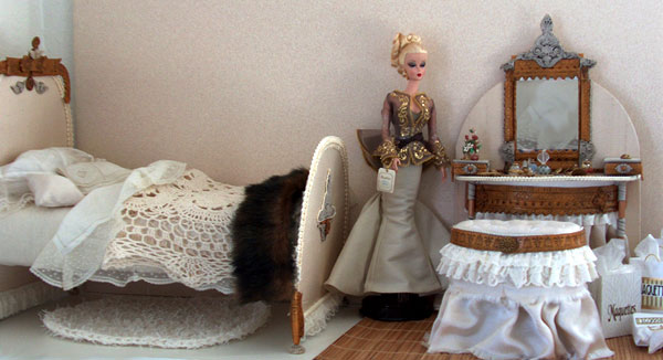 barbie doll and polymer clay miniature bedroom set