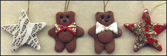 polymer clay bear and star ornaments