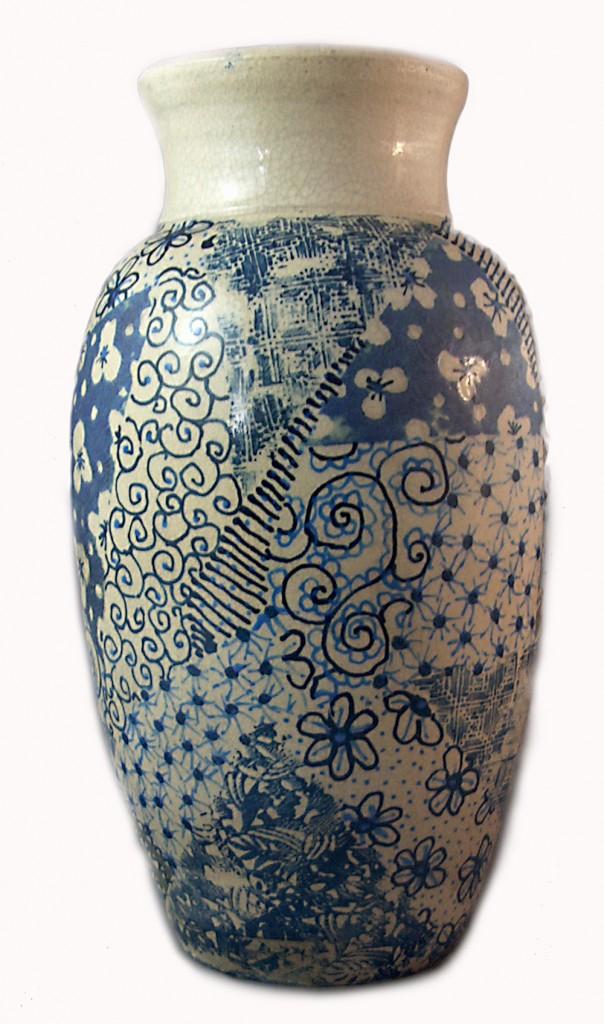 ceramic vase with patchwork underglaze decoration