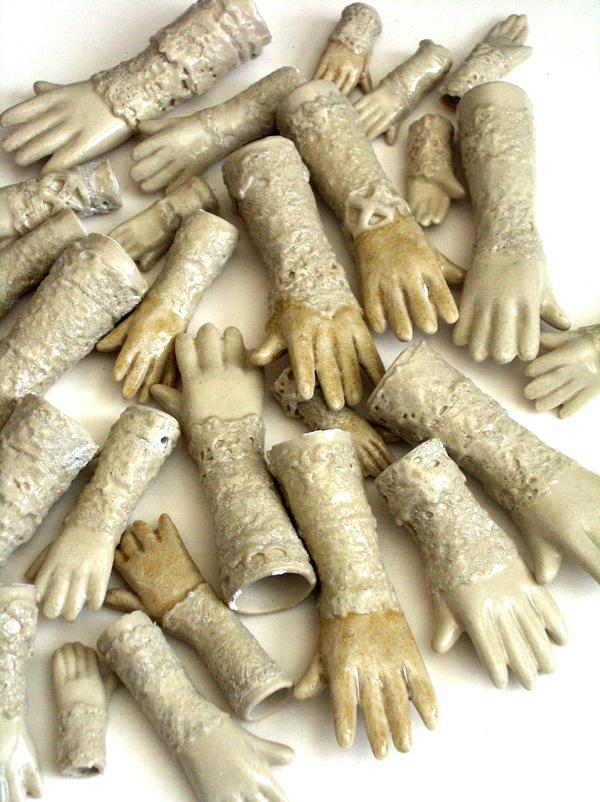 slipcast ceramic hands