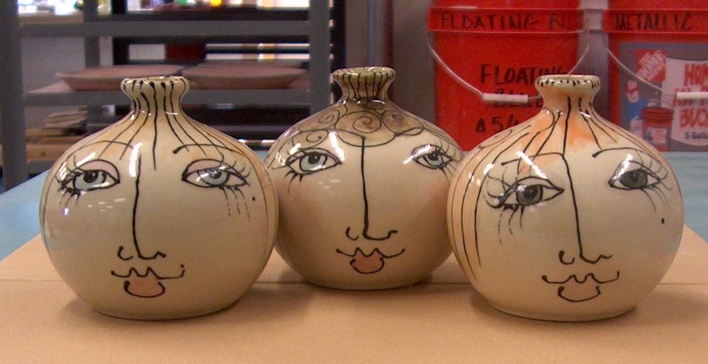 ceramic face vases