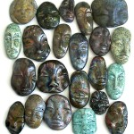 raku fired ceramic face cabochons