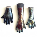 raku fired slipcast ceramic hands