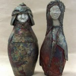 raku fired ceramic samurai and lady