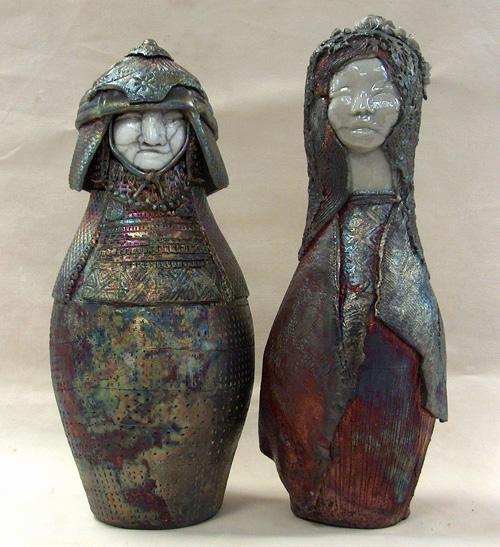 raku fired ceramic samurai and lady