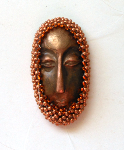 bronze face and right angle weave cabochon