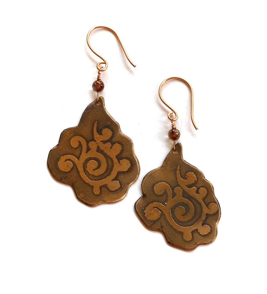 etched brass earrings