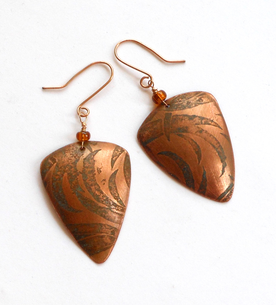 etched and hydrolic pressed copper earrings