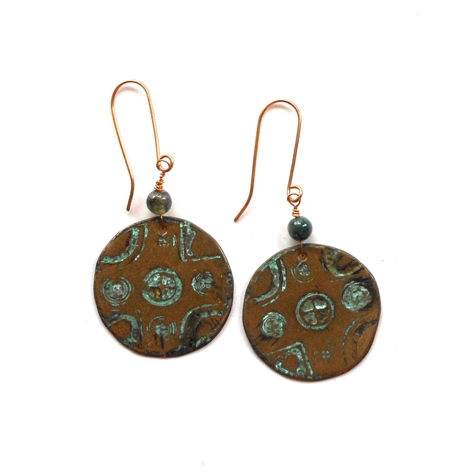 etched bronze earrings