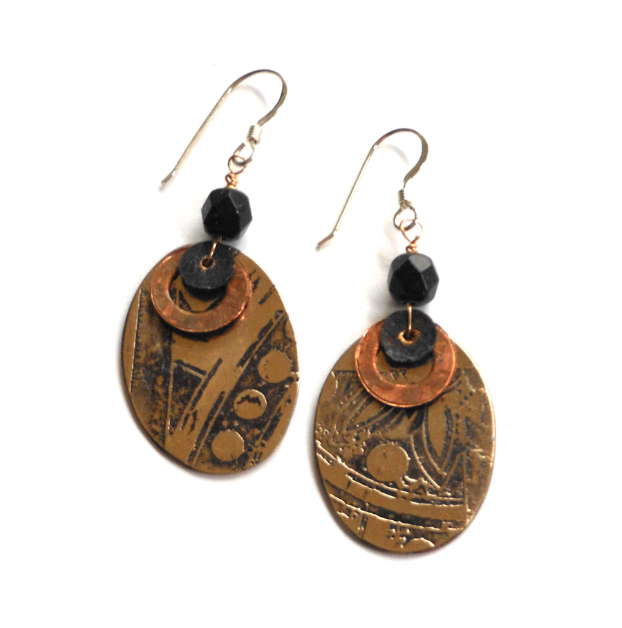 etched brass and copper earrings