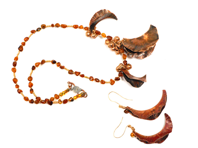 copper foldformed necklace and earrings