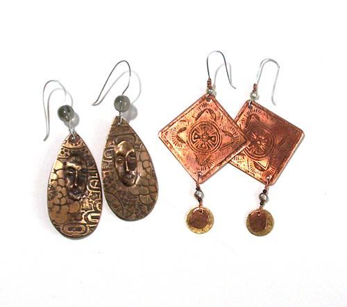 etched metal earrings