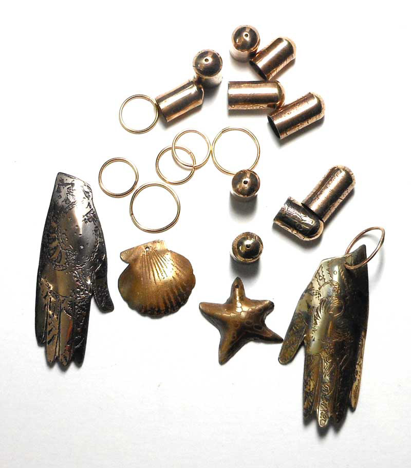 etched bronze brass mehndi hands beadcaps charms