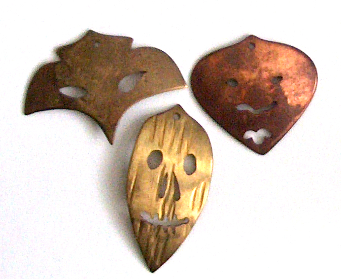 copper bronze and brass masks