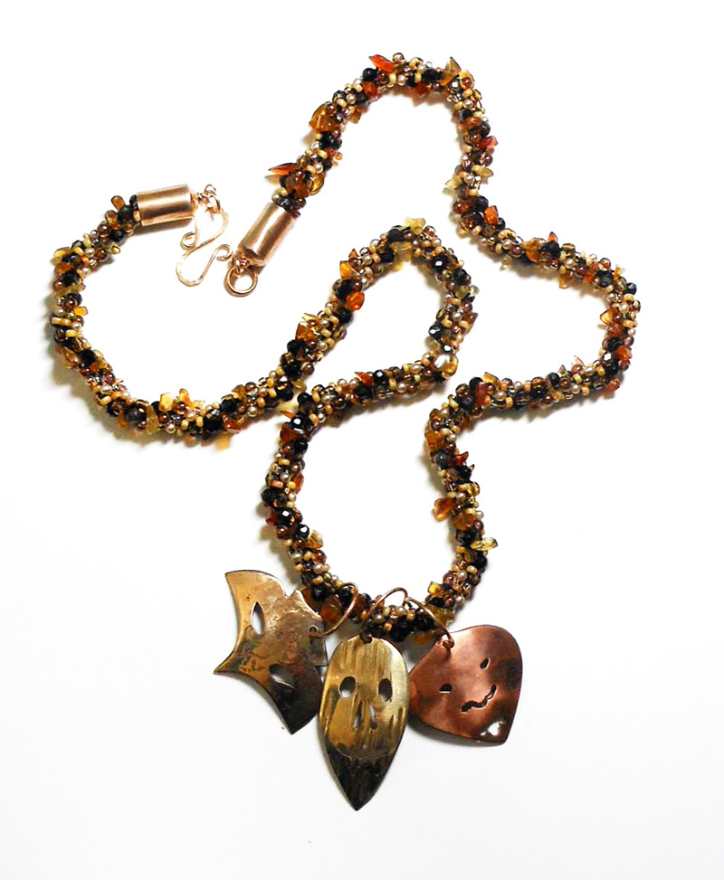 kumihimo necklace with bronze copper brass masks