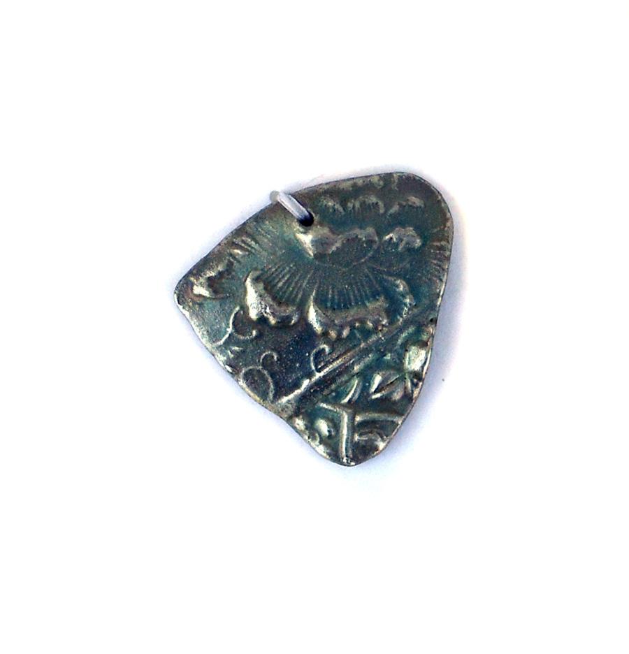 pmc silver over ceramic pendant