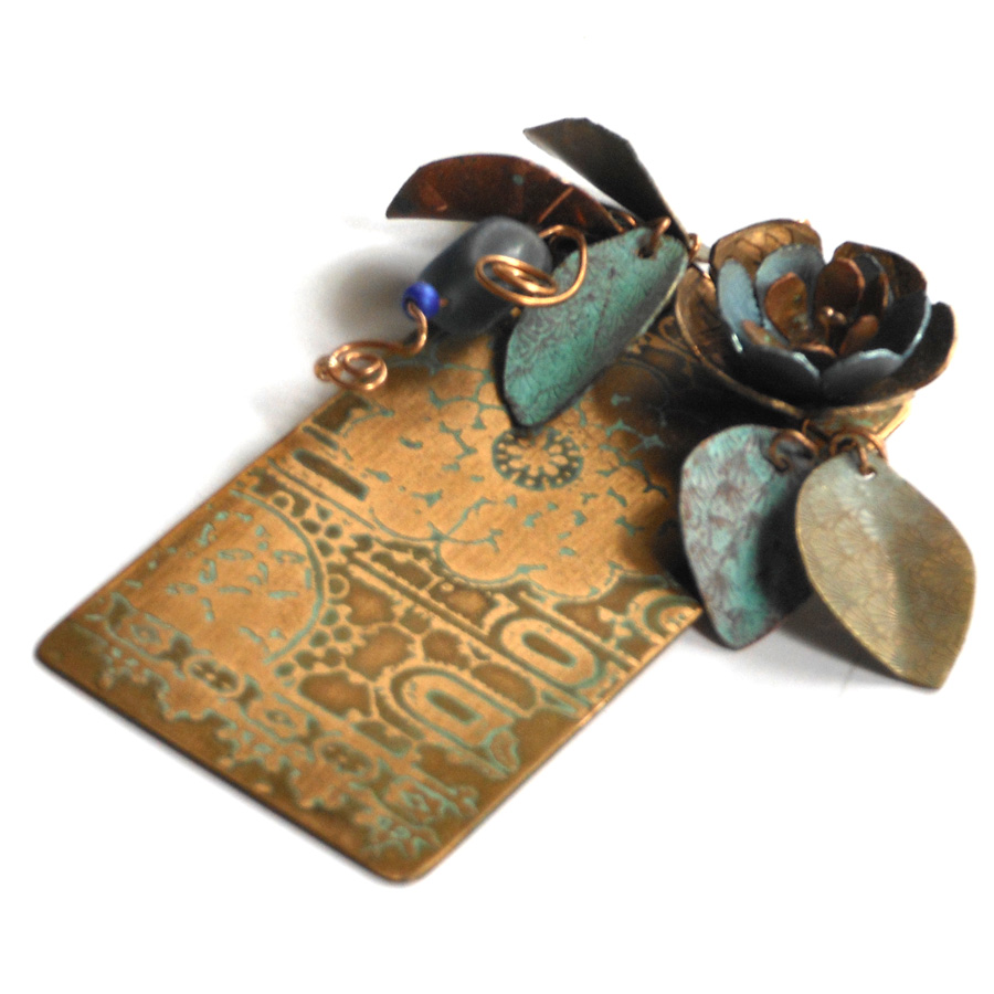 etched bronze and copper floral pendant