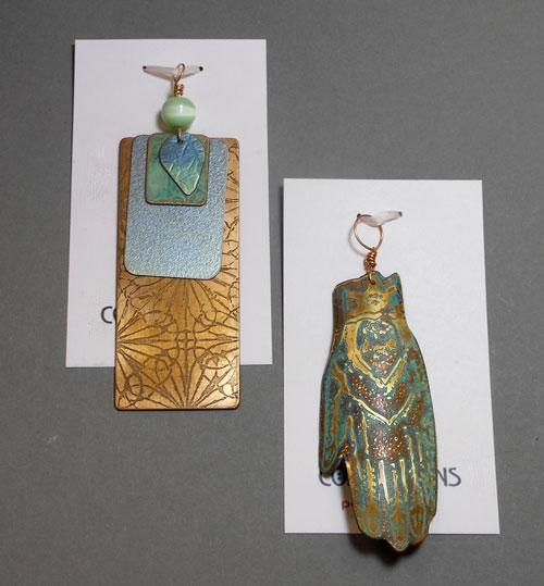 anodized etched bronze titanium pendants