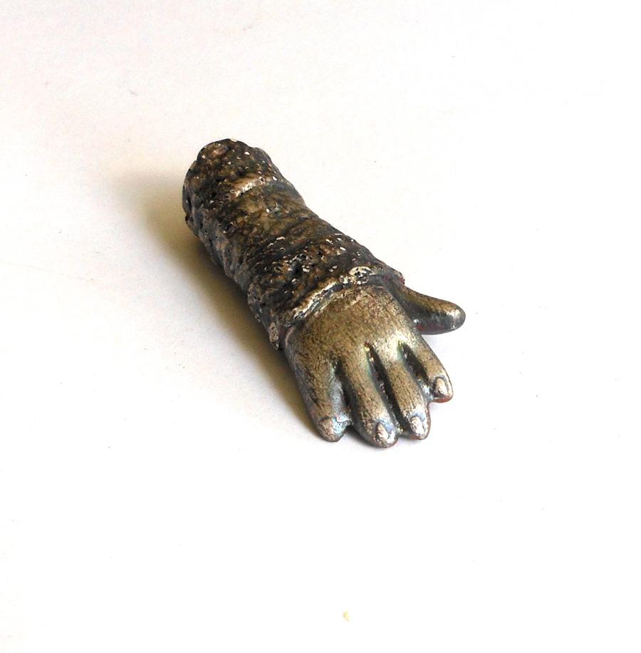 pmc silver over ceramic hand