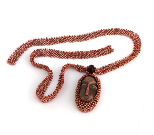 bronze face and right angle weave beaded necklace
