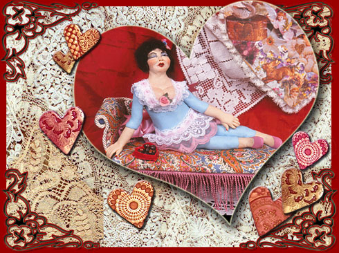 Valentine Rosie, a polymer doll and graphic image