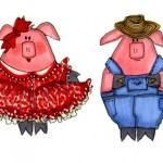 Square dance pigs illustration