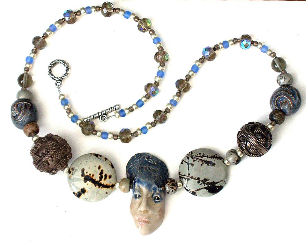 ceramic face ceramic and stone beads necklace