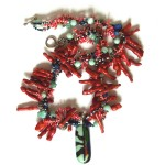 glass coral and metal necklace