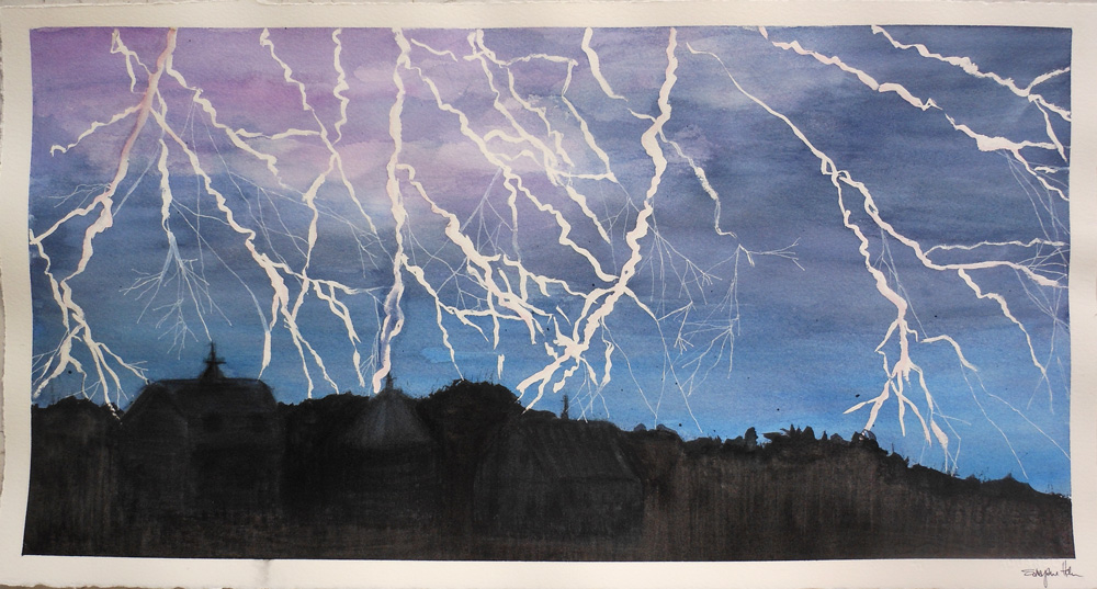 watercolor lightning