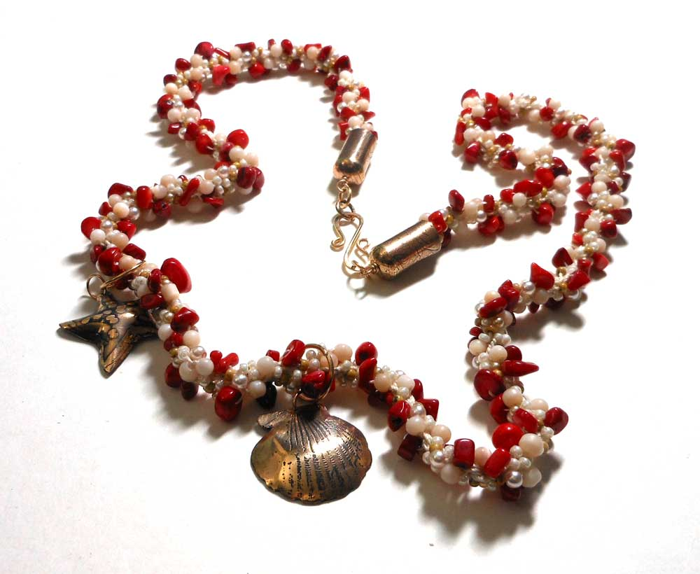 kumihimo pearls coral etched bronze necklace
