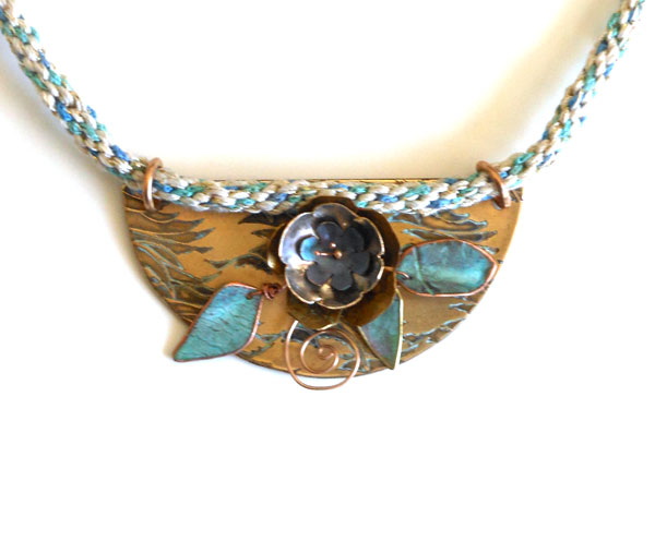 etched and patina bronze copper metal flowers kumihimo necklace