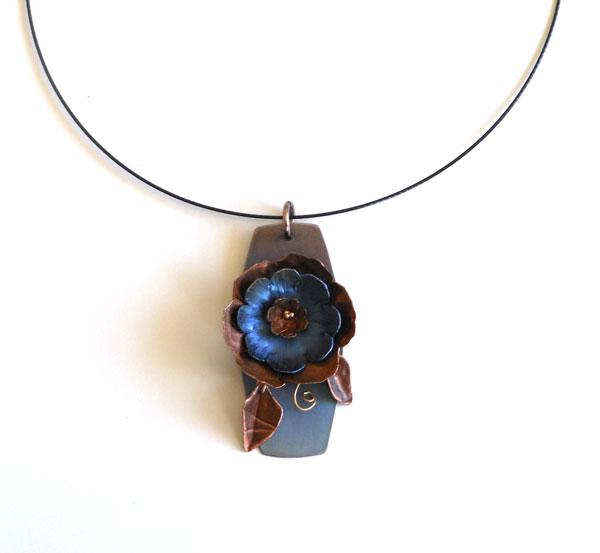 anodized titanium and copper flower necklace