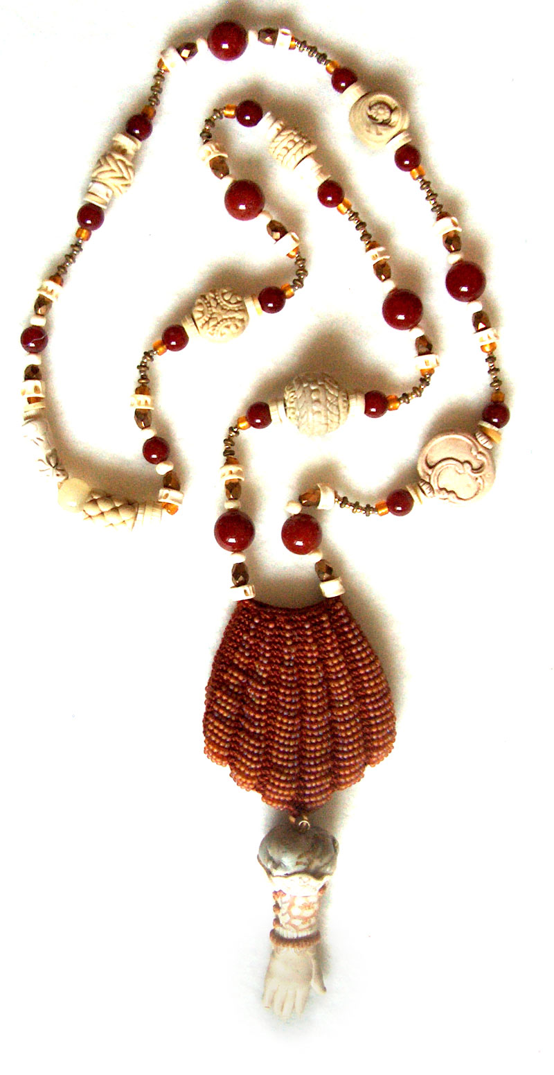 polymer clay and carnelian necklace with knit bag and polymer clay hand