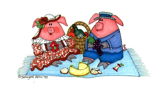 pigs on a picnic illustration pen and ink