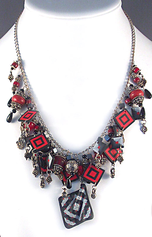 polymer clay quilt pattern necklace