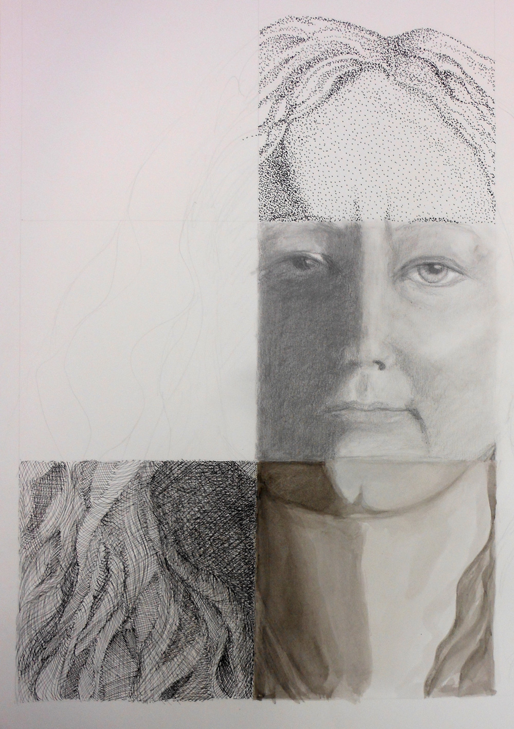 self portrait in progress