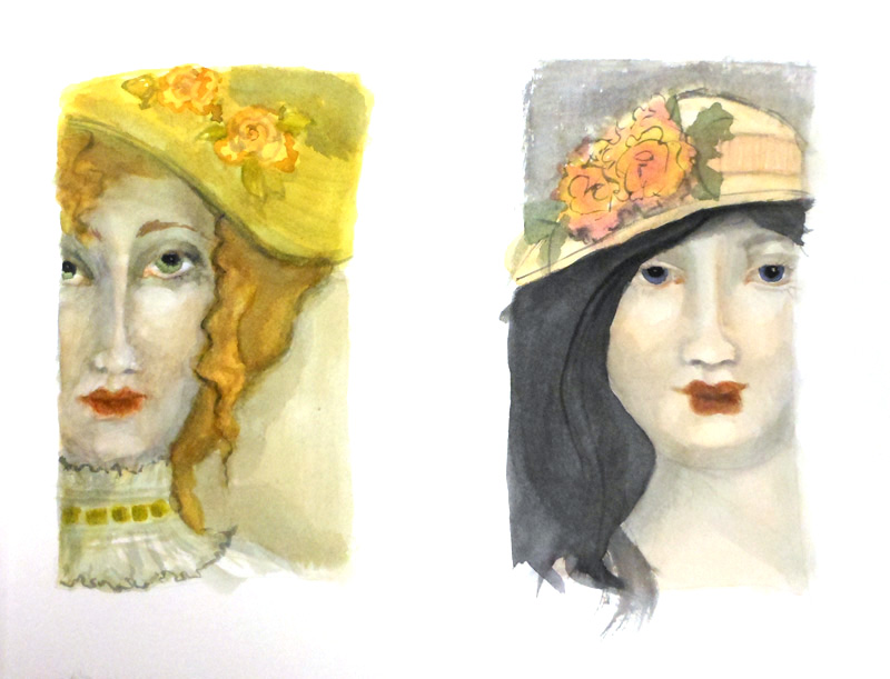 watercolor hats