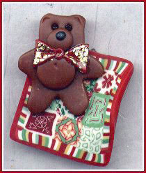 polymer clay bear and quilt ornament