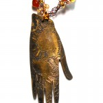 etched bronze mehndi hand with crotchet wire beads necklace