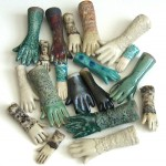 slipcast ceramic hands with lace