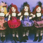 cloth painted chorus line dancehall gir dolls