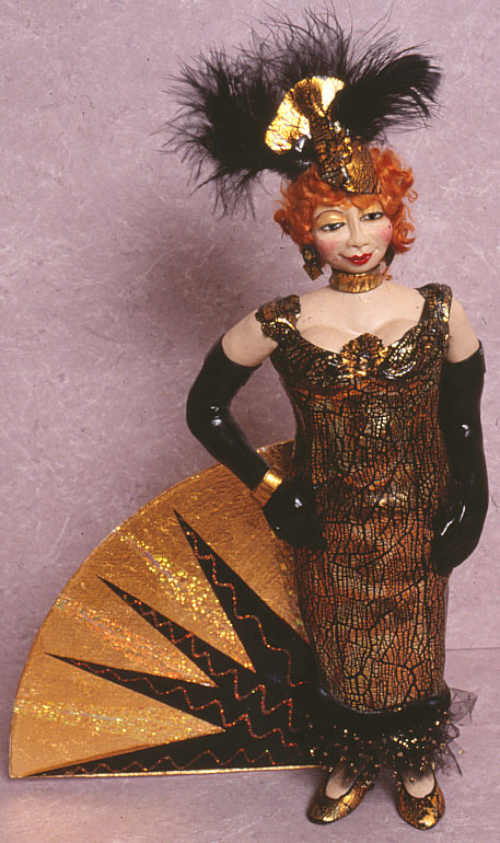 Madame in gold--a polymer clay doll