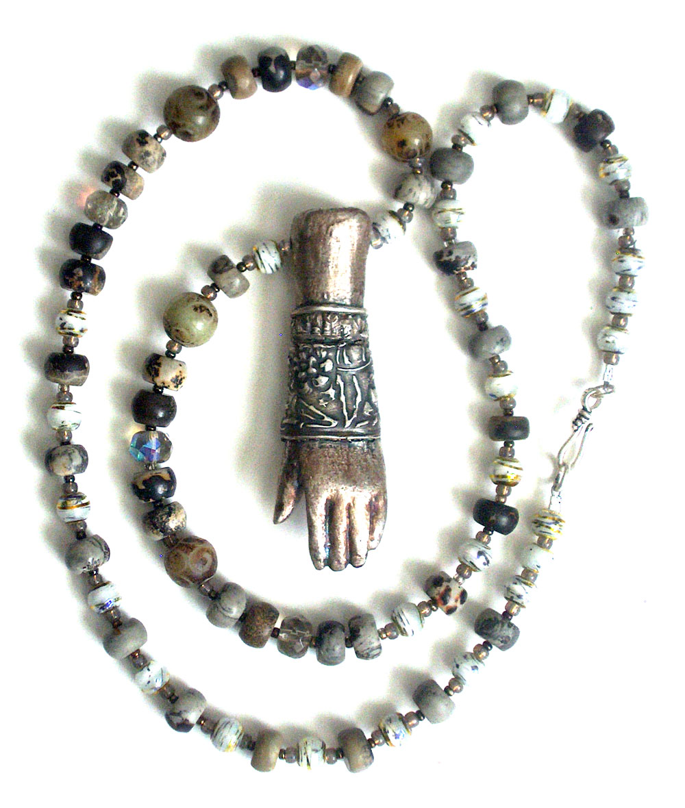 pmc silver over ceramic hand bead and stone necklace