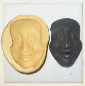 polymer clay original face and silicon mold