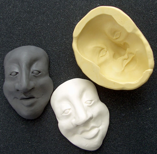 original, mold and new polymer clay face