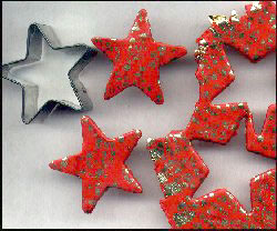 star ornaments made with polymer clay