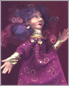 purple faerie puppet (cloth and polymer)