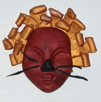 polymer clay masks by students at Columbine Elementary School