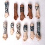 polymer clay tattoo hand pendants
