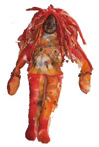 tie dyed fabric beaded spirit doll with polymer clay face